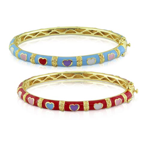 Miadora Yellow Plated Silver Turquoise or Red Enamel Heart Design Bracelet