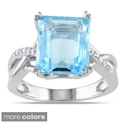 Miadora Sterling Silver Emerald-cut Gemstone and Diamond Accent Ring