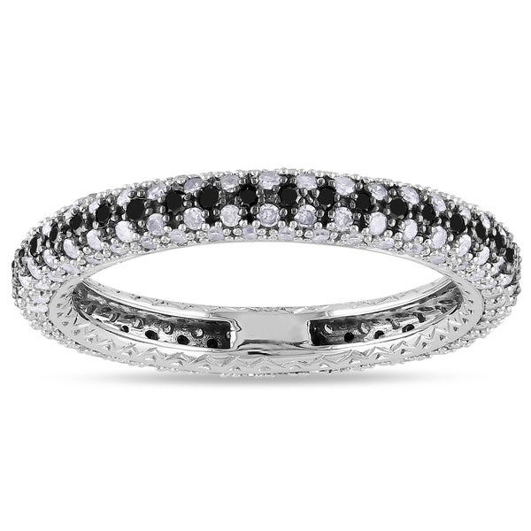 Miadora 14k White Gold 1ct TDW Black-and-white Pave Diamond Ring