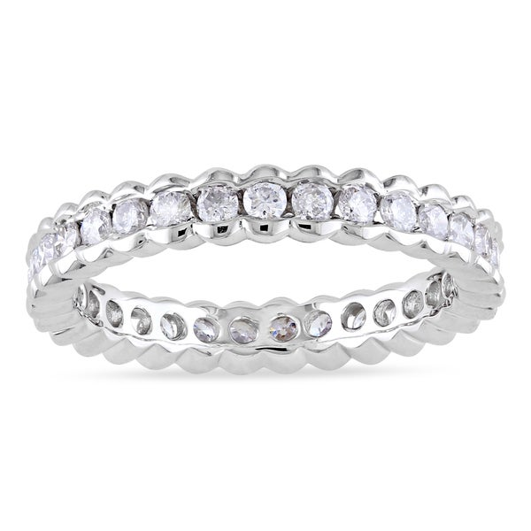 Miadora Signature Collection 14k White Gold 1ct TDW Diamond Certified Eternity Ring (G-H, I1-I2) (IGL)