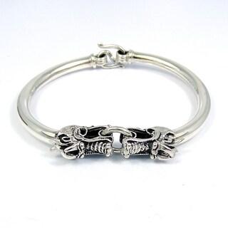 Handmade Twin Dragon Sterling Silver Bracelet (Thailand)