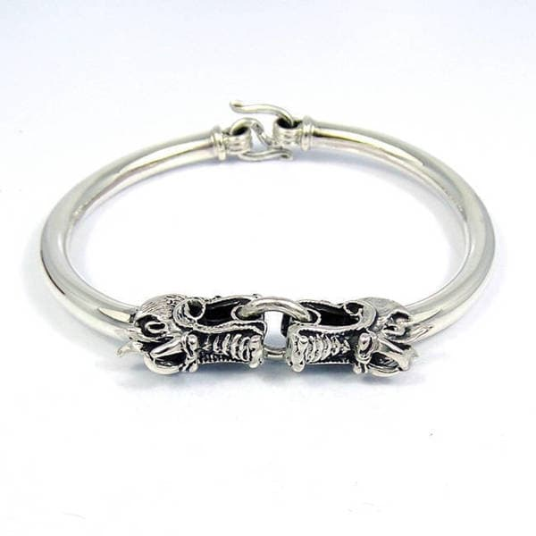 Handmade Twin Dragon Sterling Silver Bracelet (Thailand)
