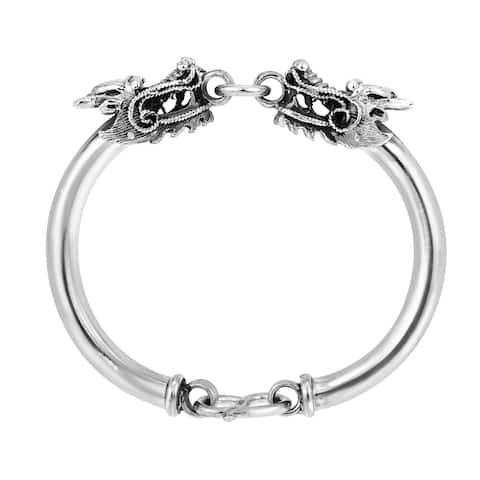 Handmade Twin Dragon Hill Tribe Silver Bracelet (Thailand)