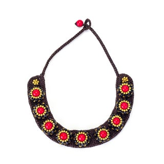 Red Coral, Crystal and Brass Bead Wax Cord Necklace (Thailand)