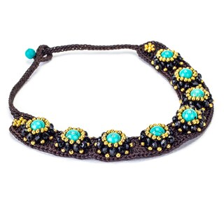 Turquoise, Crystal and Brass Bead Wax Cord Necklace (Thailand)