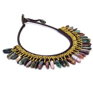 Quartz and Brass Bead Wax Cord Necklace (Thailand)