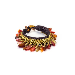 Carnelian and Brass Bead Wax Cord Bracelet (Thailand)