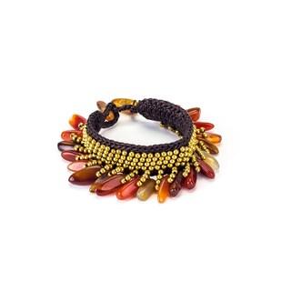 Carnelian and Brass Bead Wax Cord Bracelet (Thailand)