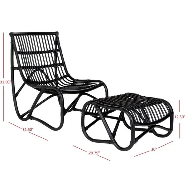 "Safavieh Shenandoah Black Wicker Chair and Ottoman Set - 22"" x 30.5"" x 32"""