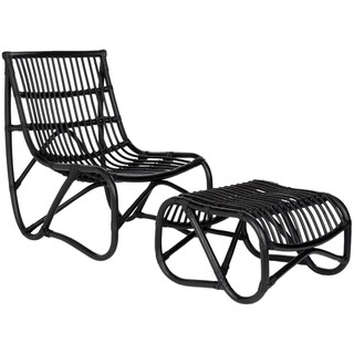 Safavieh Shenandoah Black Wicker Chair and Ottoman Set