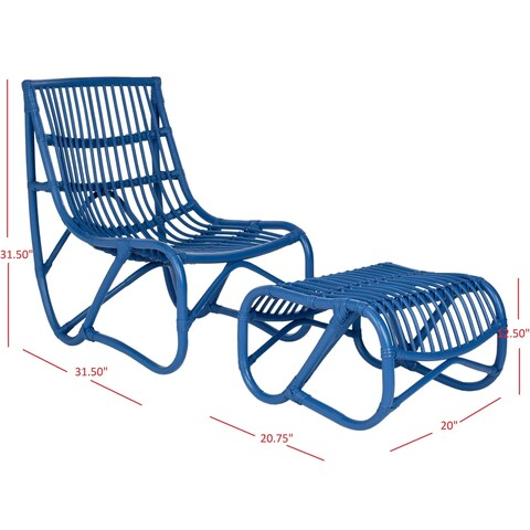 Safavieh Shenandoah Blue Wicker Chair and Ottoman Set