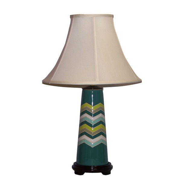 Crown Lighting 1-light Teal Chevron Flamestitch Ceramic Table Lamp