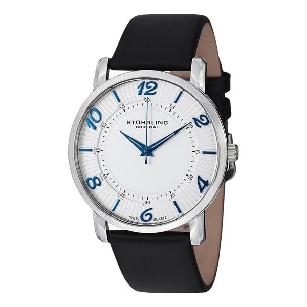 Stuhrling Original Men's Corona Ultra thin Leather Strap Watch