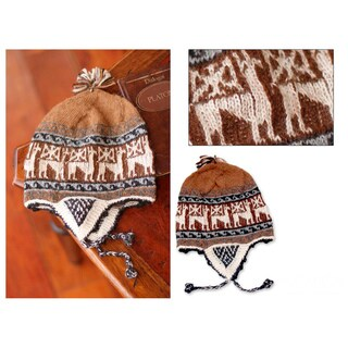 Handmade Alpaca Blend 'Brown Llamas' Chullo Hat (Peru)
