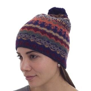Handmade Alpaca 'Indigo Winter' Hat (Peru)