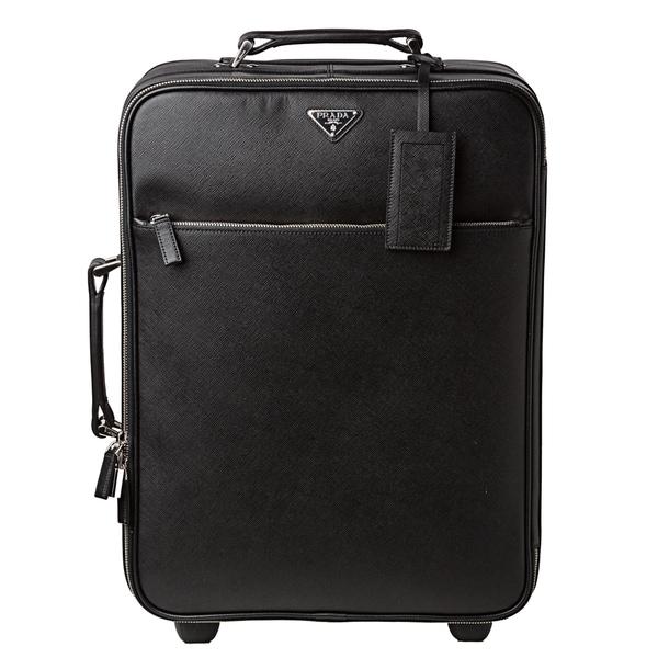 Prada Black Saffiano Leather Trolley