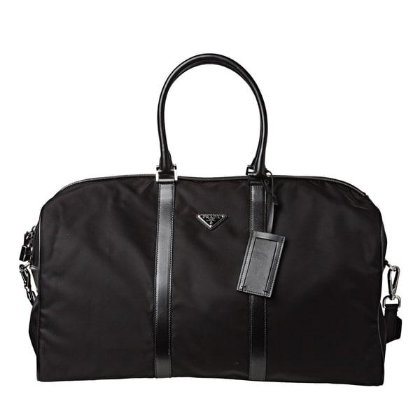 Prada Black Nylon Travel Duffle Bag