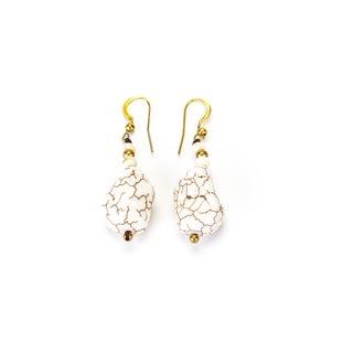 White Turquoise and Brass Bead Earrings (Thailand)