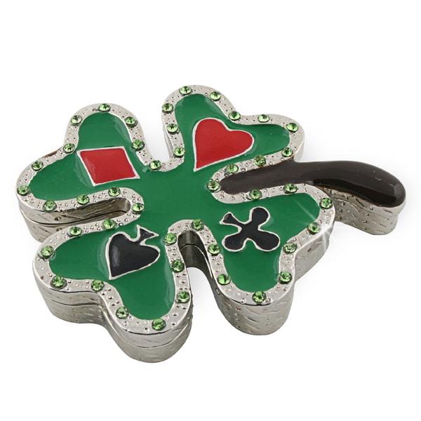 Objet d'art 'Lucky Card' Four Leaf Clover Trinket Box