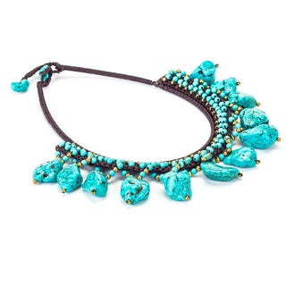 Turquoise and Brass Bead Necklace (Thailand)