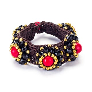 Red Coral, Crystal and Brass Bead Wax Cord Bracelet (Thailand)