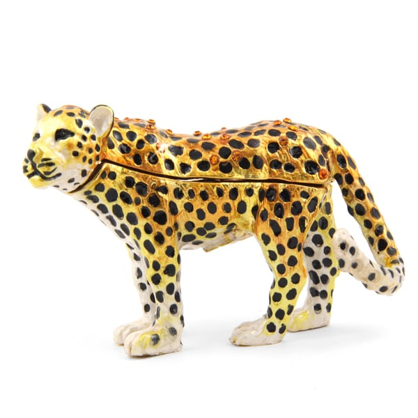 Objet d'art 'The Amur Leopard' Leopard Trinket Box