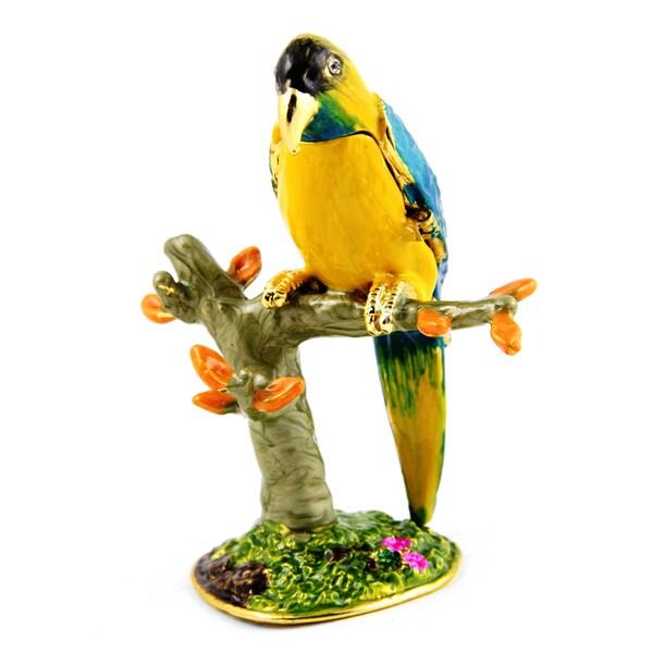 Objet d'art 'Blue Thraoted Macaw Bird' Trinket Box