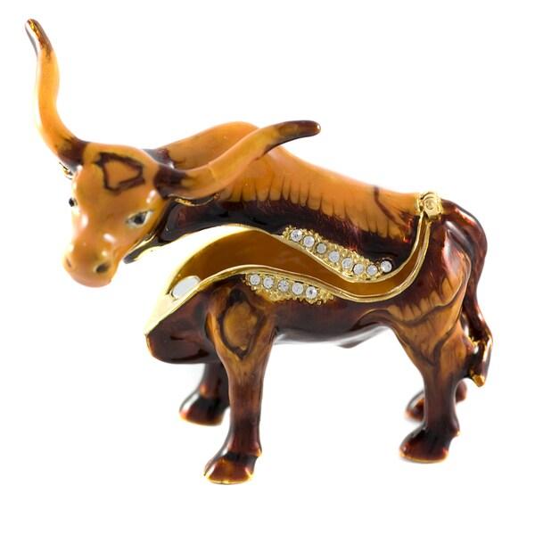 Objet d'art 'Toro Bravo' Long Horn Bull Trinket Box