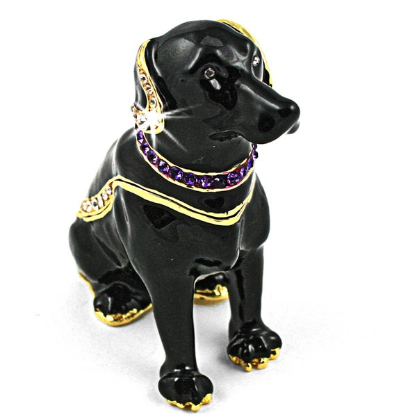 Objet d'art 'Our Dog Chong Black Labrador' Trinket Box