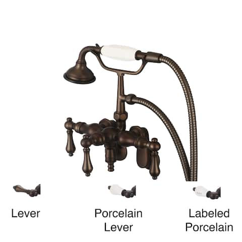 Water Creation Oil Rubbed Bronze Adjustable Center Wall Mount Down Spout Tub Faucet, Swivel Wall Connector and Handheld Shower