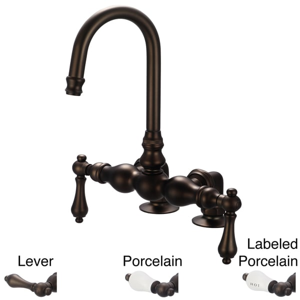 Water Creation Vintage Classic Oil Rubbed Bronze 3 3/8-inch Center Deck Mount Tub Faucet With Gooseneck Spout and 2-inch Risers