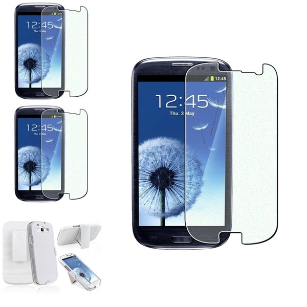 BasAcc White Case/Colorful Diamond Screen Protector Set for Samsung Galaxy S3