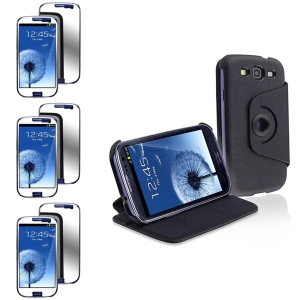 INSTEN Black Phone Case Cover/ Mirror Screen Protector for Samsung Galaxy S3