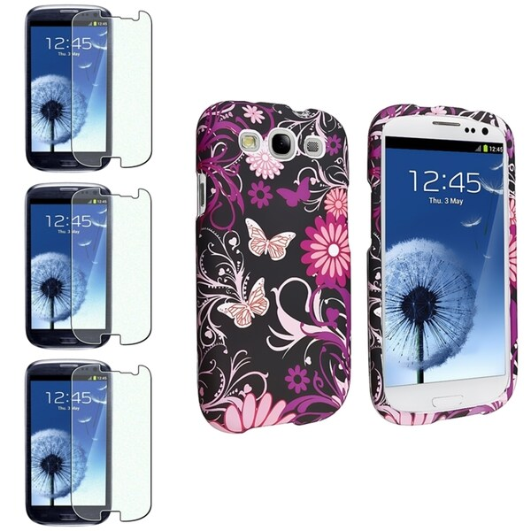 INSTEN Rubber Phone Case Cover/ Diamond Screen Protector for Samsung Galaxy S III/ S3