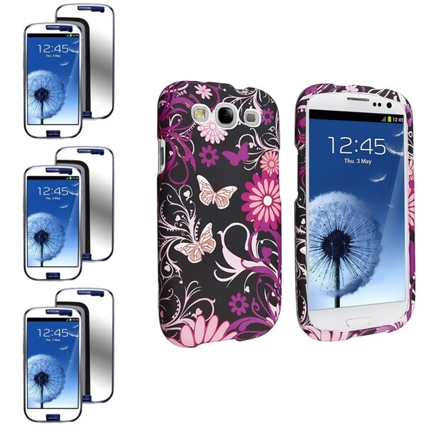 INSTEN Pink Butterfly Phone Case Cover/ Mirror Screen Protector for Samsung Galaxy S III/ S3