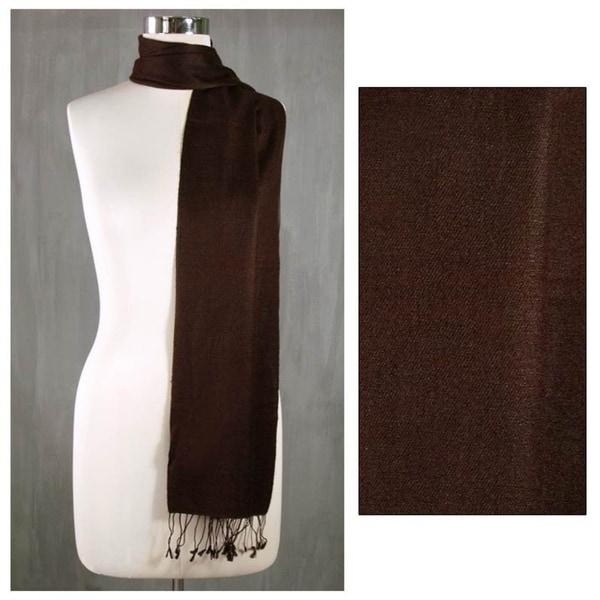 Wool and Silk 'Kashmiri Chocolate' Scarf (India)