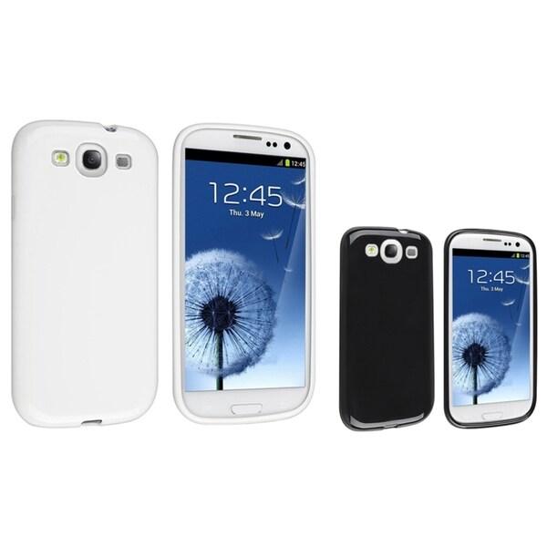 INSTEN Black TPU Phone Case Cover/ White TPU Phone Case Cover for Samsung Galaxy S III/ S3