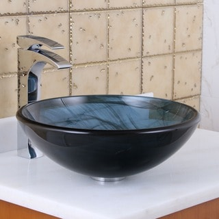 Elite Tempered Glass Swirl Pattern Vessel Sink