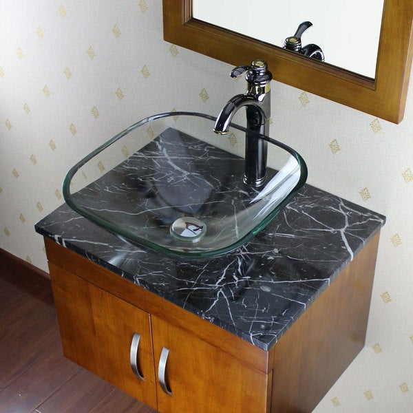 clear glass bathroom sinks shop elite clear square glass bathroom vessel sink free 17777