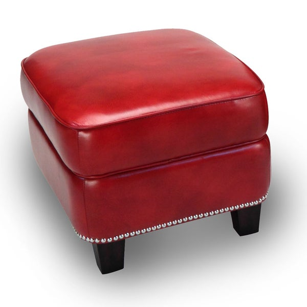 Madrid Leather Storage Ottoman in Art Red