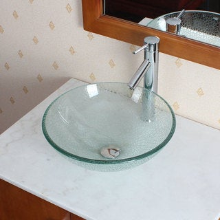 CAE Clear Bathroom Sink with a Chrome Faucet