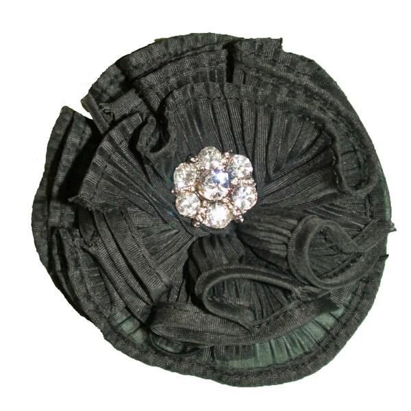 Black Pleated Rosette Magnetic Brooch