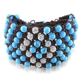 Miadora Turquoise Beads and White Cubic Zirconia Macrame Bracelet