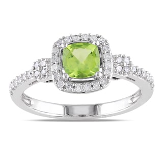Link to Miadora 10k White Gold Peridot and 1/5ct TDW Diamond Ring (G-H, I1-I2) Similar Items in Rings