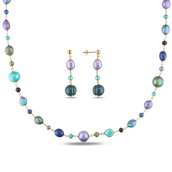 Miadora Pink Rhodium Plated Silver Cultured Freshwater Pearl and Turquoise Earring and Necklace Set