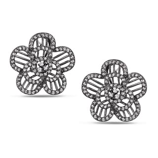 M by Miadora Sterling Silver White Cubic Zirconia Flower Earrings