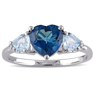Miadora Sterling Silver Topaz and Diamond Heart Ring (H-I, I2-I3)