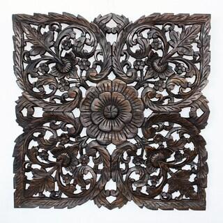 Handmade Black Carved Inlay Square Lotus Panel (Thailand)