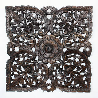 Handmade Black Carved Inlay Square Lotus Panel (Thailand)