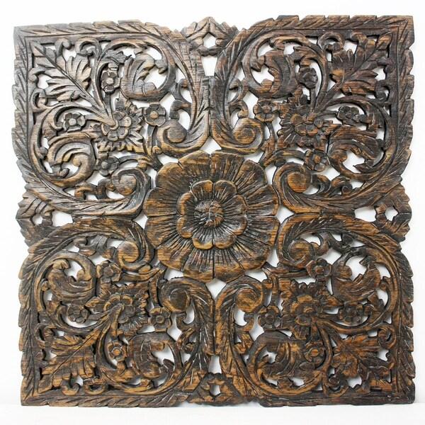 Shop Haussmann Handmade Teak Lotus Panel Inlay Round 60 Cm H Black